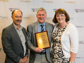 Pictured (left to right): Simon Ellis, Warren Leslie, and Joan Grace - all PrintNZ Life Members.
